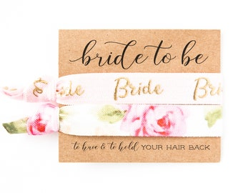 YOU CHOOSE Bridal Hair Tie Favor | Bride Hair Tie Gift, Pink + Gold Floral Rose Bride Bridal Wedding Shower Bachelorette Party Hair Ties