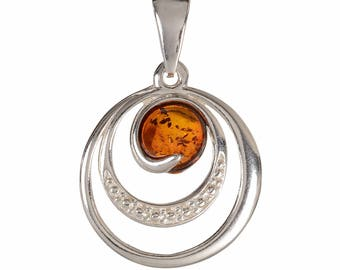 "Sterling Silver and Baltic Amber Pendant ""Aleta"""