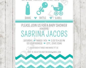 SALE Shake Rattle and Roll Baby Shower Invitation - Printed Baby Shower Invitation by Dancing Frog Invitations
