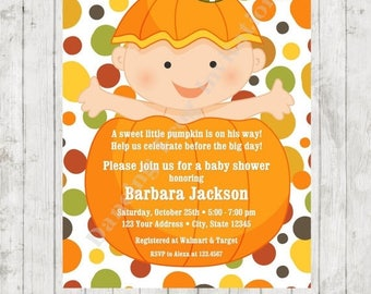 SALE Pumpkin Fall Baby Shower Shower Invitation - Printed Fall Baby Shower Invitation by Dancing Frog Invitations