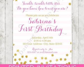 SALE Twinkle Twinkle Little Star Birthday Invitation - Printed Birthday Invitation by Dancing Frog Invitations