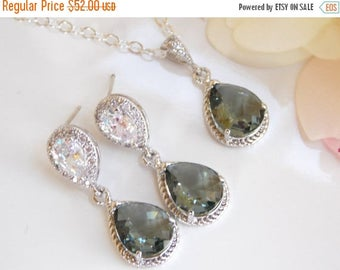 SALE Wedding Jewelry, Cubic Zirconia and Grey Earrings and Necklace SET, Bridesmaids Jewelry, Gray, Charcoal, Sterling Silver,Post, Dangle,