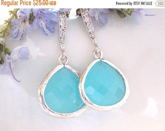 SALE Wedding Jewelry, Ocean Blue Earrings, Silver,Turquoise, Bridesmaid Jewelry,Cubic Zirconia,Dangle,Bridesmaid Gifts,Bridal Gifts,Drop Ear