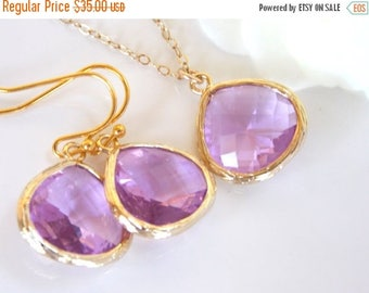 SALE Wedding Jewelry Set, Lavender Earrings and Necklace, Violet, Lilac, Purple, Gold Filled, Bridesmaid Jewelry, Pendant Set, Bridesmaids G