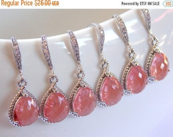 SALE Wedding Jewelry, Coral Earrings, Grapefruit, Peach, Silver, Cubic Zirconia, Bridesmaid Jewelry, Bridesmaid Earrings, Dangle, Bridesmaid