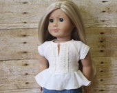 Lace trimmed peplum top in ivory crinkle gauze for 18 inch dolls such as American Girl and My Imagination