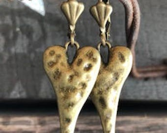 Heart Earrings In Hammered Antique Brass.