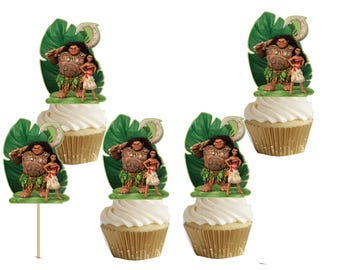 Moana and Maui cakepop/cupcake toppers 24 pcs