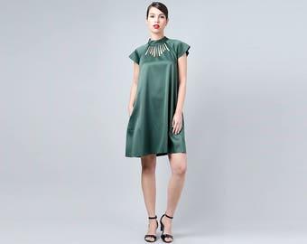 Green Elegant Dress, Green Cutout Dress, Green Collar Dress, Emerald Green Dress with Pockets, Green Bridesmaid Dress, Green Womens wear
