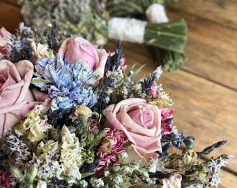 Pink Rose Bouquet. Dried Wedding Flowers for Bride or Bridesmaid, Dried flowers wheat, rustic, twine, christmas, autumn, summer, lavender