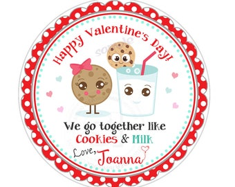 "Valentine's Cookies & Milk  2.5"" Printable Tags-Valentines Personalized Valentine's gift tag-stickers-Printable tags"