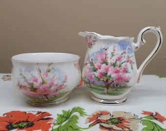 Royal Albert Blossom Time Sugar Bowl and Creamer