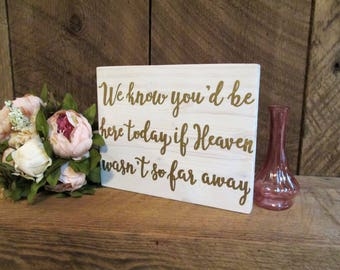 In loving memory, wedding sign, rustic wedding sign, remembrance sign, heaven sign, we know you'd be here, wedding decor, ceremony sign