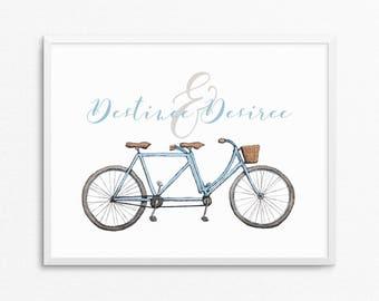 CUSTOM Name's and date Tandem Watercolor Print, Wedding Anniversary Gift, Custom Anniversary Date, Watercolour Tandem Vintage Bicycle