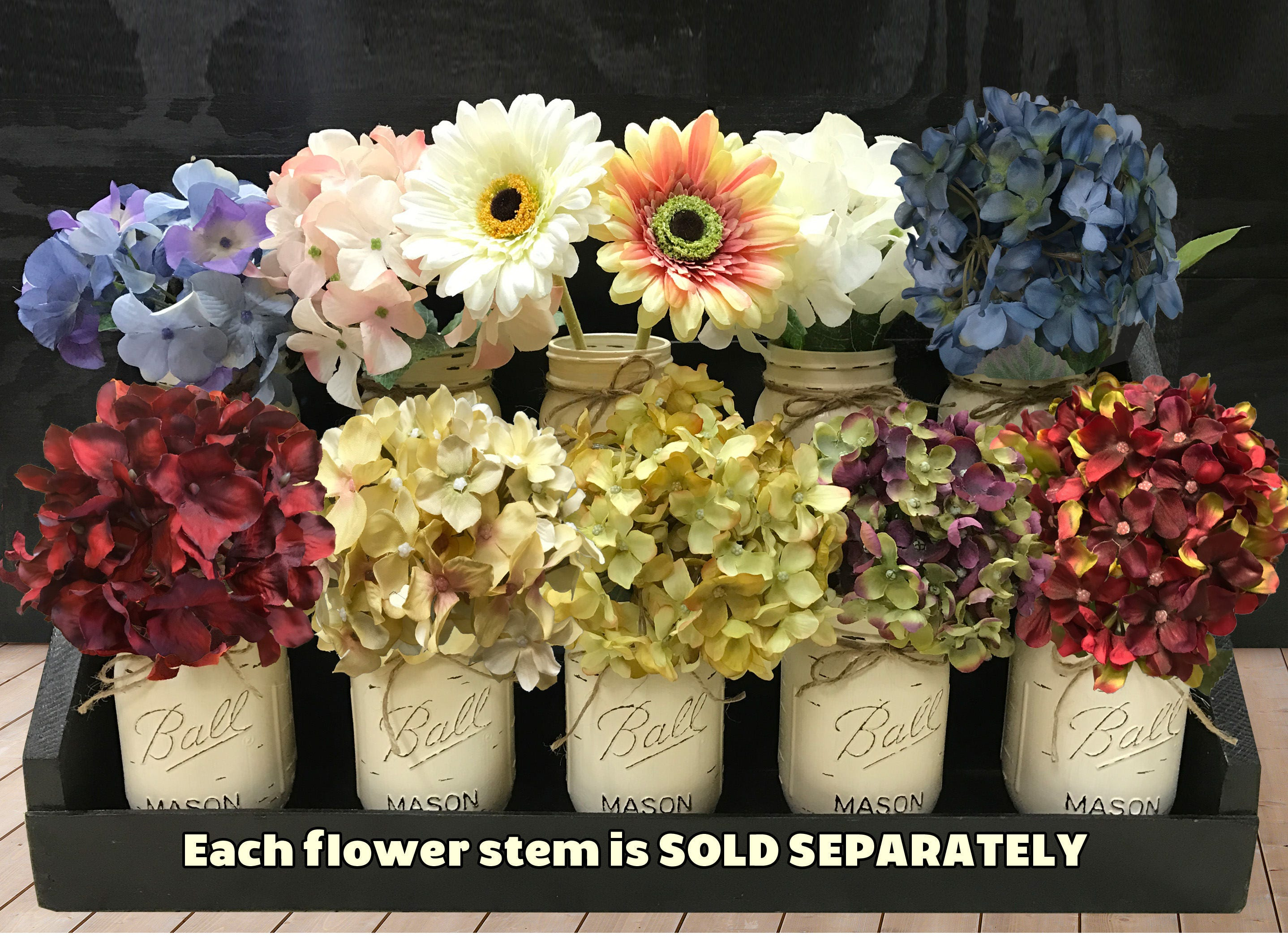 Flower stem hydrangea or daisy accessory for centerpiece table