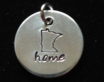 Minnesota small hand stamped simple pendant / necklace