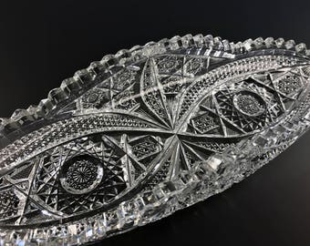"""American Brilliant Period Cut Glass 12"""" x 4.25"""" Celery Tray Rolled Edges ABP"""