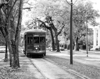 New Orleans Photography, Black and White, Streetcar, St. Charles, Garden District, Trees, Travel Decor, Transportation, Wall Art