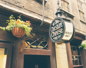 London Pub, London Print, London Photography, English Pub, Fine Art Print, England, Europe, Bar Decor, Office Decor, Wall Art, brown, gold