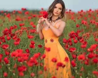 Yellow maxi summer dress
