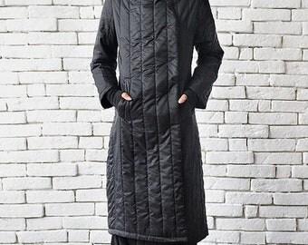 SALE Extravagant Black Coat/Long Loose Jacket/Oversize Black Cardigan/Black Maxi Coat/Quilted Wool Coat/Large Collar Oversize Top/Cozy Coat