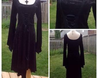 Gothic Witchy Romantic Dress size L\XL Stretch Velvet