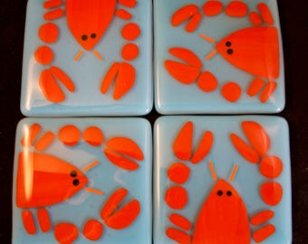 Fused Glass Lobster Coasters Set of 4, Trivet, Red, Blue, Kitchen Decor, Bar Accessories, Hot Plate, Glass Tile