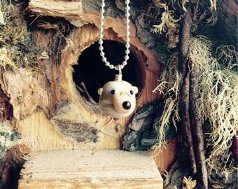 Jasper the Bear lampwork glass pendant necklace