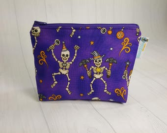 Halloween Skeletons Notions Pouch,  Mini Zippered Wedge Bag, Knitting Notions Pouch, Craft Pouch NP0027