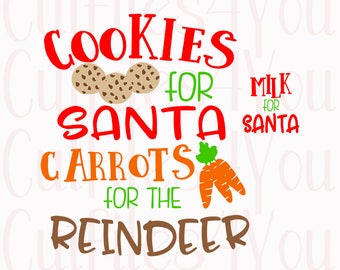 Christmas SVG, Cookies for Santa, Santa Plate svg, Milk for Santa, Holiday Decor, Reindeer treats,  cricut cut file, silhouette cut file