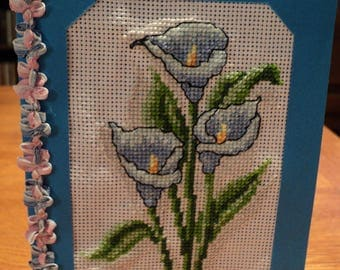 Birthday card or another embroidered cross stitch: of the lilies