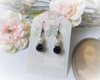 Shabby chic black crystal and Pearl Earrings mother of Pearl