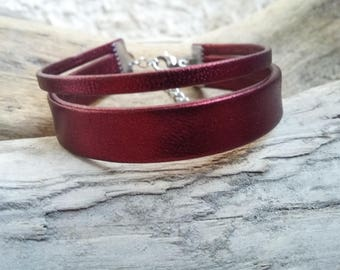 Leather bracelet 2 links Bordeaux wine metallized Boho jewelry By Dodie