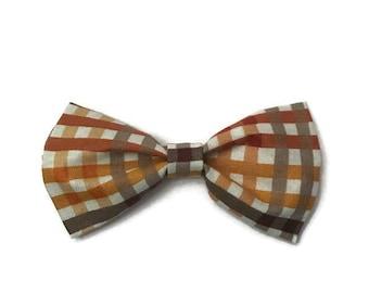 Boys plaid bow tie, halloween bow tie, orange and brown plaid bow tie, fall bow tie, fall time bow tie, plaid bow tie, preppy toddler, fall