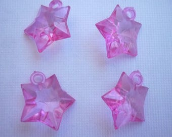 Bright transparent glossy sold in sets of 4 pink stars.