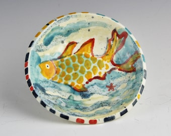 Ceramic Fish Dish, Handmade, Hand Painted Clay by Southwest Artist, Karlene Voepel