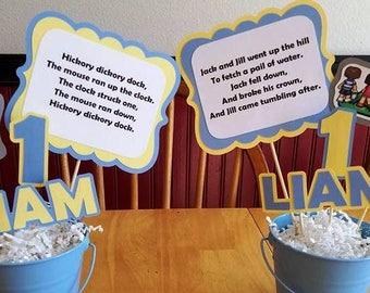 6 Nursery Rhyme Mother Goose Centerpiece Sticks