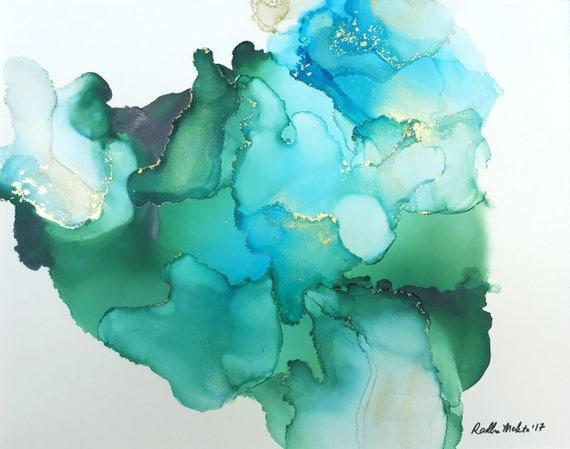 Aquamarine (alcohol ink original on yupo / blue, green, gold)