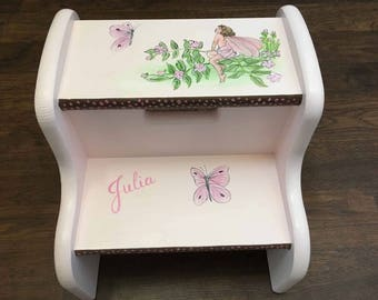 girls pink flower fairy step stool