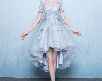 Classic Custom Made Maxi Dress,Irregular Elegant Bridesmaid Dresses, Party Dress, Day Dress, Grey