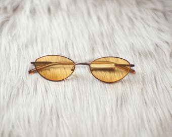 Yellow Vintage Style Sunglasses / Yellow Sunglasses / Yellow Lenses