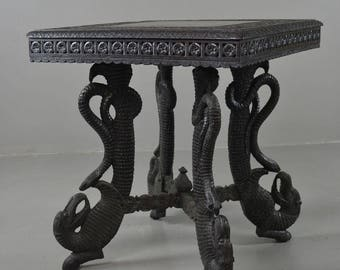 Carved Oriental Square Occasional Table