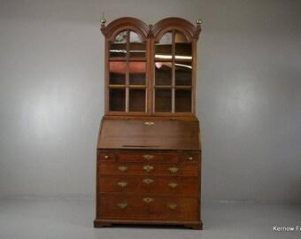 Antique Oak 18th Century Double Dome Bureau Bookcase