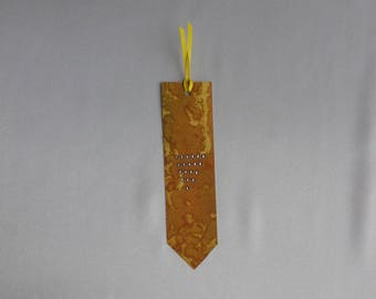 Silk bookmark, marbled old gold with Rhinestone M98