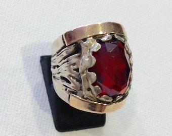 Vintage ring Sterling silver gold red stone Israeli design statement ring