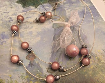 vintage nude pink romantic necklace