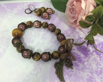 romantic set magical Brown and Tiger's eye beads