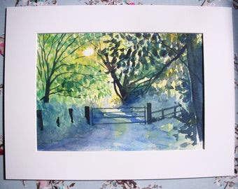 Late Afternoon Walk, Original Watercolour Painting