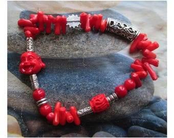 """""Energy Force""Buddha bracelet coral beads and cinnabar"" on Tibetan silver"