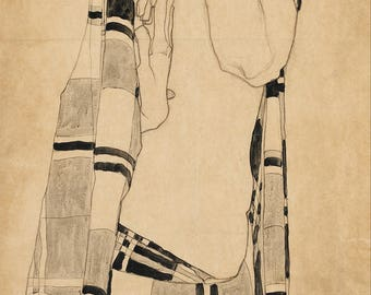 Standing Girl by Egon Schiele Home Decor Wall Decor Giclee Art Print Poster A4 A3 A2 Large FLAT RATE SHIPPING